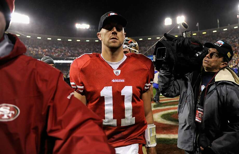 SAN FRANCISCO, CA - JANUARY 22:  Alex Smith #11 of the San Francisco 49ers walks off the field at the end of the NFC Championship Game against the New York Giants at Candlestick Park on January 22, 2012 in San Francisco, California. The Giants beat the 49ers 20-17.  (Photo by Thearon W. Henderson/Getty Images) Photo: Thearon W. Henderson, Getty Images