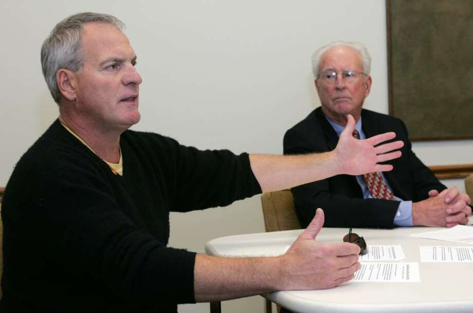 John Sanna, The First Selectman's Coastal Resources Advisory Committee member, challenges accusations made by Democratic first selectman candidate Lin Lavery  that the harbor master's salary is paid by town taxpayers and also paid for a new boat. Photo: David Ames / Greenwich Time