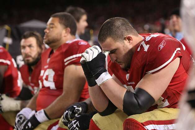 San Francisco 49ers Joe Staley reacts as the New York Giants win the NFC Championship game, 20-17, Sunday January 22, 2012, in San Francisco,Calif. Photo: Lacy Atkins, The Chronicle
