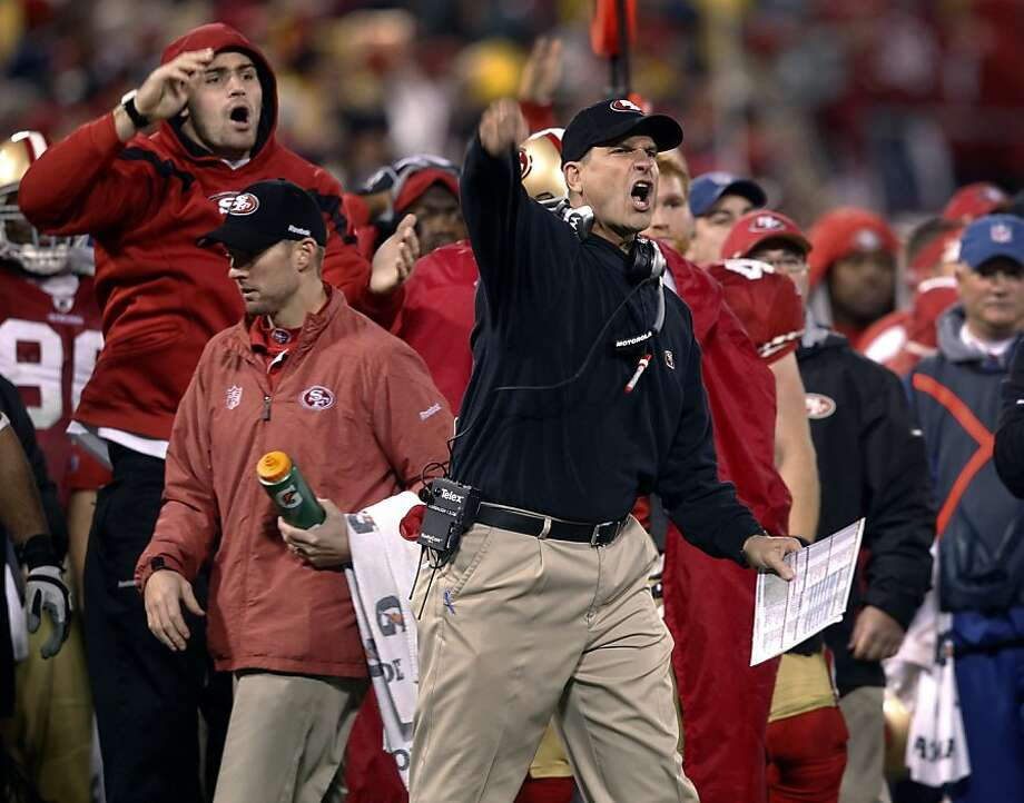 Jim Harbaugh is upset by an official's early whistle which negated a possible fumble during the second half of the 49ers' NFC Championship game against the New York Giants at Candlestick Park in San Francisco, Calif. on Sunday, Jan. 22, 2012. Photo: Paul Chinn, The Chronicle