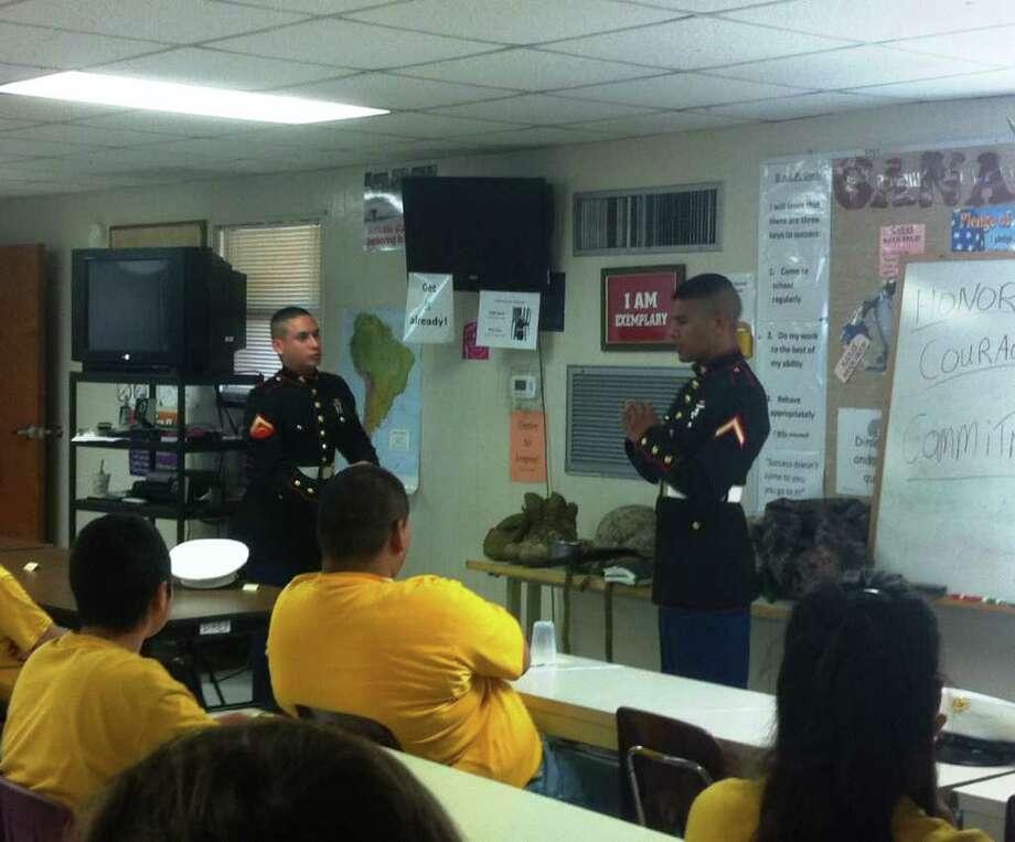Marine Lance Cpl. Andrew Garza, left, and Pfc. John D. Cruz visited Southside ISD students recently. Courtesy photo Photo: Courtesy Photo