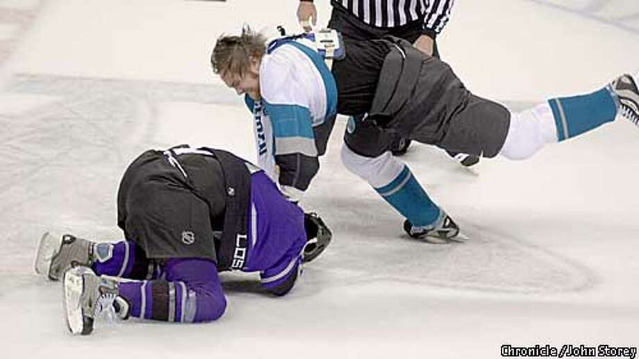 Newcomer Kyle McLaren (right) and the Sharks will be fighting the Kings, among several teams, for the West's final playoff spot. Chronicle photo by John Storey