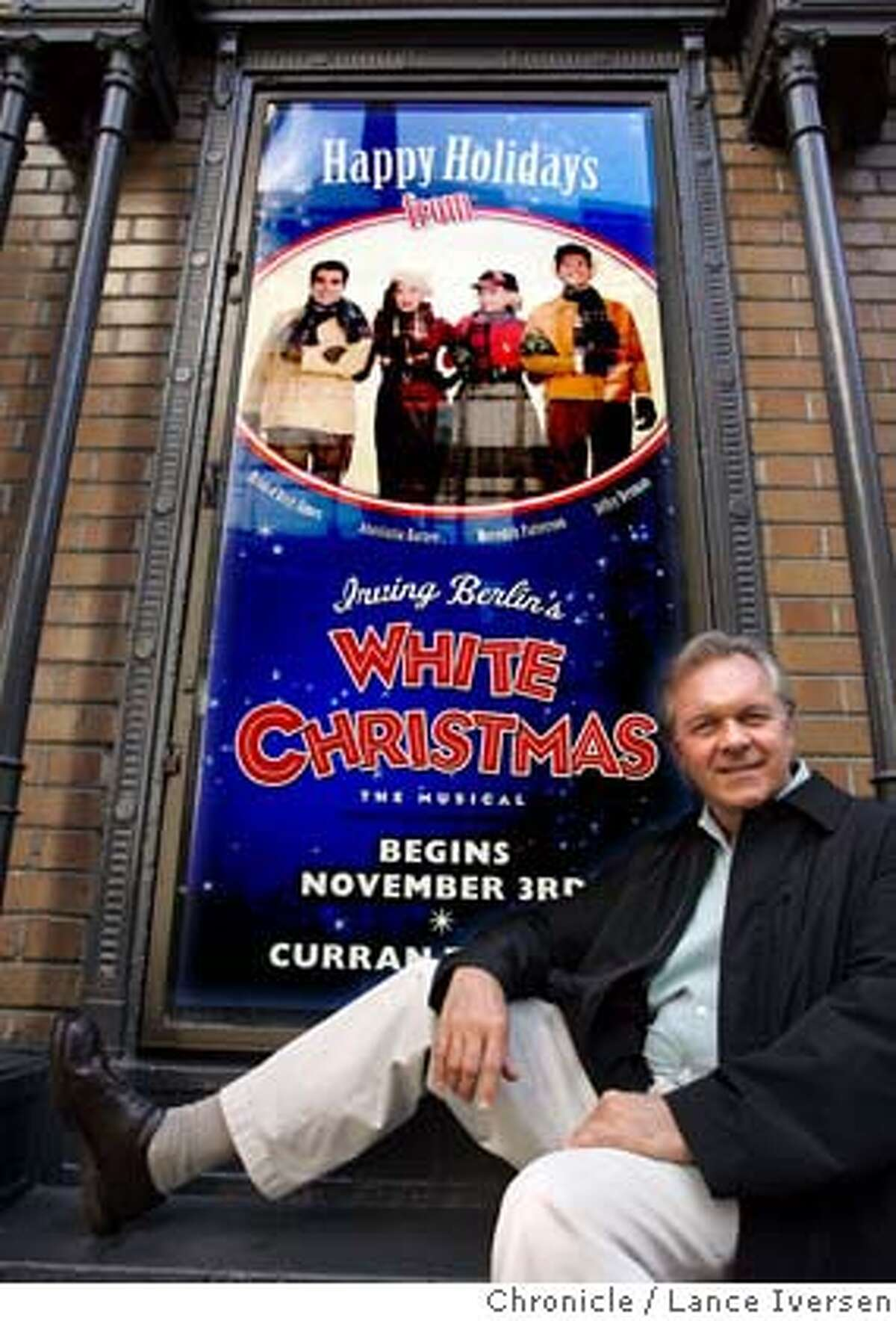 WHITECHRISTMAS_008.jpg_ Walter Bobbie, the director of the musical White Christmas poses in front of San Francisco's Curran Theater. By Lance Iversen/San Francisco Chronicle MANDATORY CREDIT PHOTOG AND SAN FRANCISCO CHRONICLE. Datebook#Datebook#Chronicle#11/11/2004#ALL#Advance##0422452980