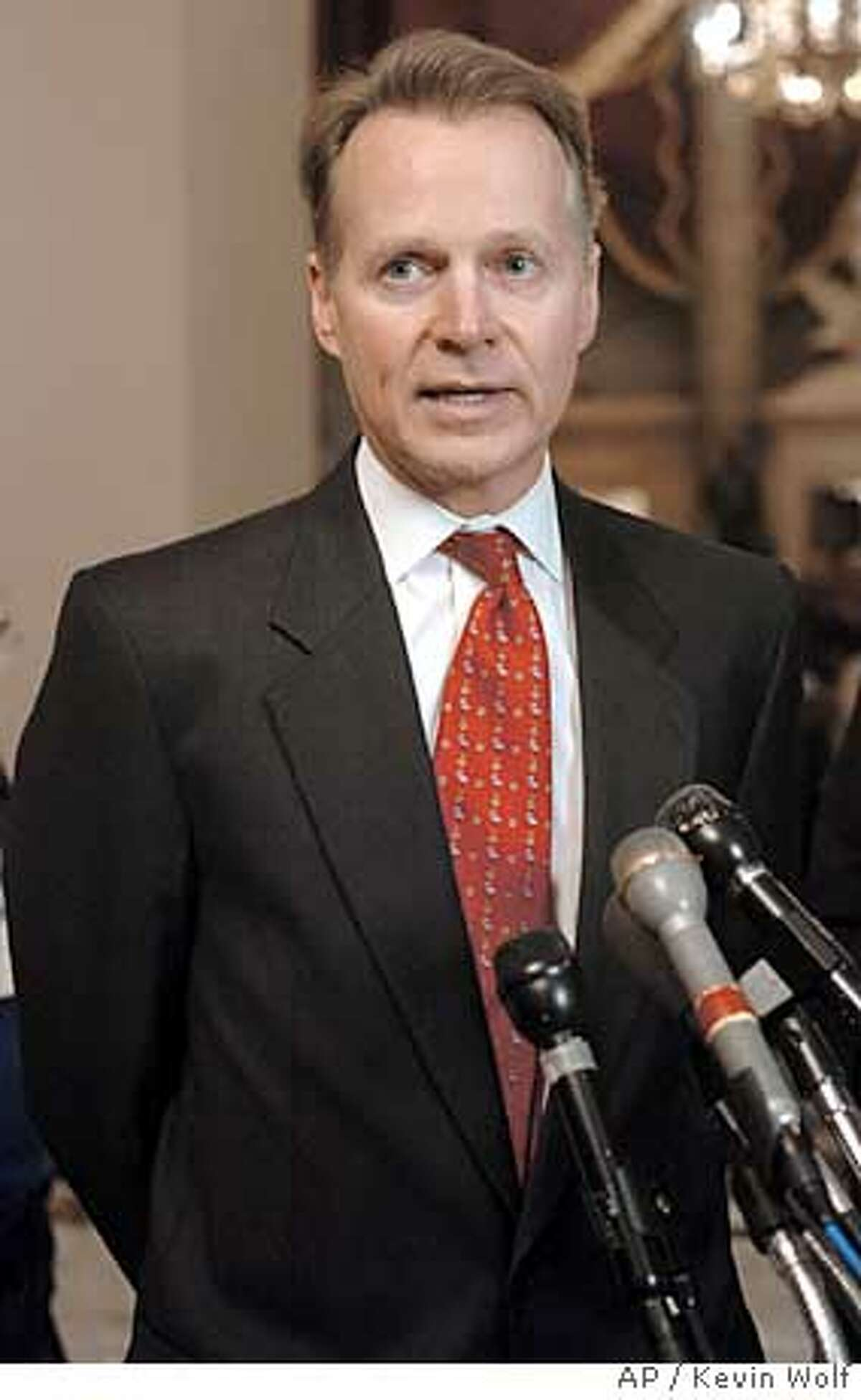 House Rules Chairman David Dreier, R-Calif., speaks to the press after a Republican conference at the Capitol on Monday, Jan. 3, 2005. (AP Photo/Kevin Wolf)