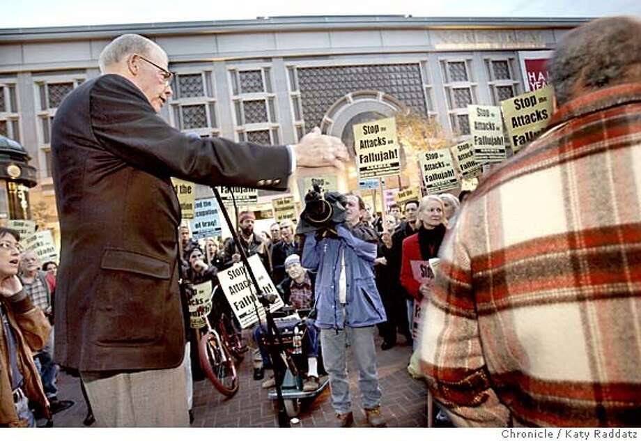 ANTIWAR_rad.jpg Massive anti war protest beginning at Powell and Market Sts. in San Francisco. SHOWN: Walter Johnson himself, retired Secretary of the San Francisco Labor Council, speaks to the gathering crowd at the cable car turnaround. Katy Raddatz / The Chronicle MANDATORY CREDIT FOR PHOTOG AND SF CHRONICLE/ -MAGS OUT Metro#MainNews#Chronicle#11/10/2004#ALL#5star##0422459226 Photo: Katy Raddatz