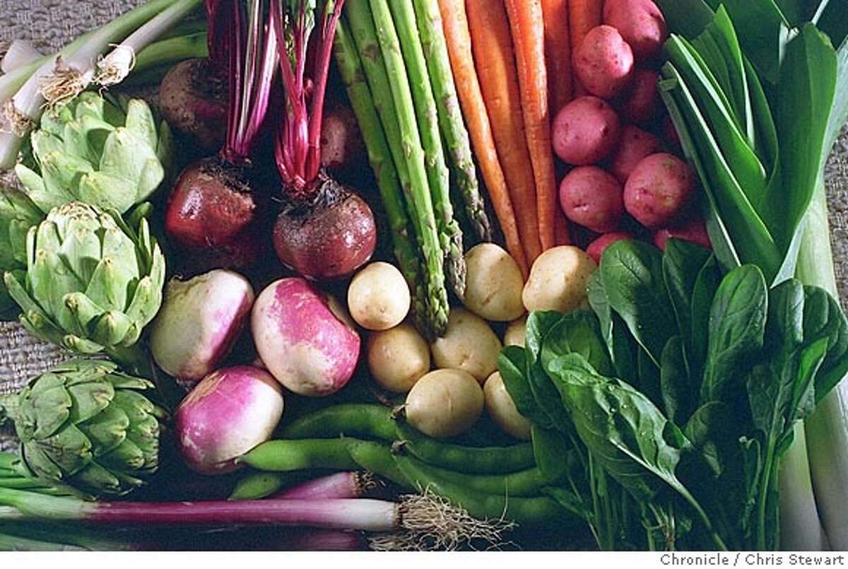 PRIMEURS/C/31MAR97/FD/CS - Spring vegetables: artichokes, beets, spring onions, new potatoes, spinach, leeks, carrots, asparagus, fava beans, green garlic. SAN FRANCISCO CHRONICLE PHOTO BY CHRIS STEWART CAT