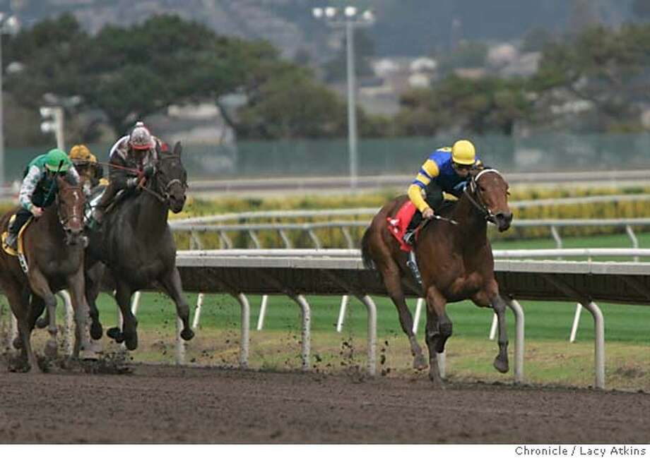 A Lil' Alimony with the jockey Roberto Gonzalez takes the led and wins the first race of the opening of Golden Gate Fields fall/ winter season, Nov. 10, 2004, in Albany. The horse is owned by First Wives Club and Lingenfelter. ---- Golden Gate Fields opens its fall/winter thoroughbred racing season Nov 10, 2004, in Albany. LACY ATKINS/SAN FRANCISCO CHRONICLE Photo: LACY ATKINS