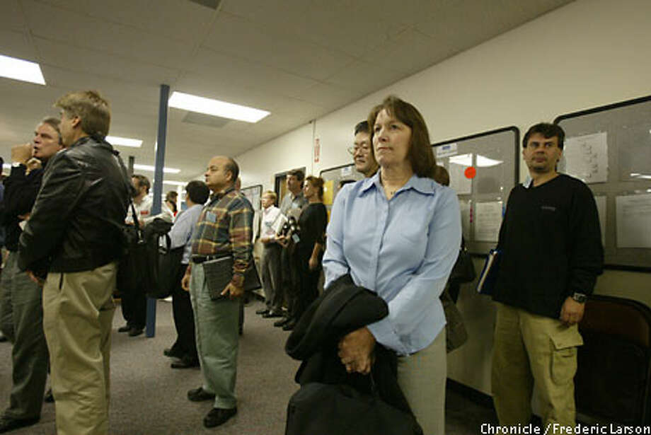 With other job seekers, Edy Unthank waits for a meeting at ProMatch's Employment Development Department office in Sunnyvale. Chronicle photo by Frederic Larson