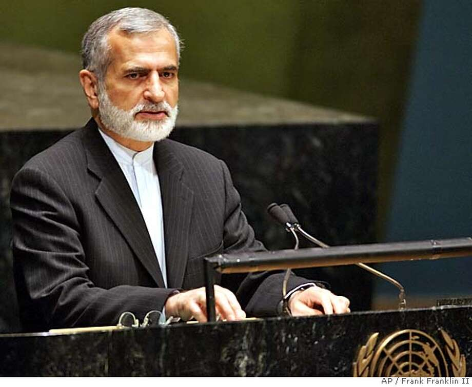 """Iranian Minister of Foriegn Affairs Kamal Kharrazi speaks during a conference to review the Nuclear Nonproliferation Treaty Tuesday, May 3, 2005 at the United Nations. Kharrazi said Tehran is """"determined"""" to pursue all legal areas of nuclear technology, including uranium enrichment. (AP Photo/Frank Franklin II) Photo: FRANK FRANKLIN II"""