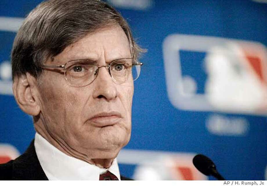 ** FILE ** Major League Baseball commissioner Bud Selig pauses during a news conference at the conclusion of a two-day meeting with baseball owners in Philadelphia, in this Aug. 19, 2004 photo. Baseball commissioner Bud Selig asked players to agree to a 50-game ban for first-time steroid offenders and a lifetime ban for a third offense. In a letter sent this week to union head Donald Fehr, Selig proposed a 100-game ban for a second offense.(AP Photo/H. Rumph, Jr.) A AUG. 14, 2004 FILE PHOTO Ran on: 05-03-2005  Bud Selig Ran on: 05-03-2005  Bud Selig Ran on: 05-03-2005  Bud Selig Photo: H. RUMPH, JR.