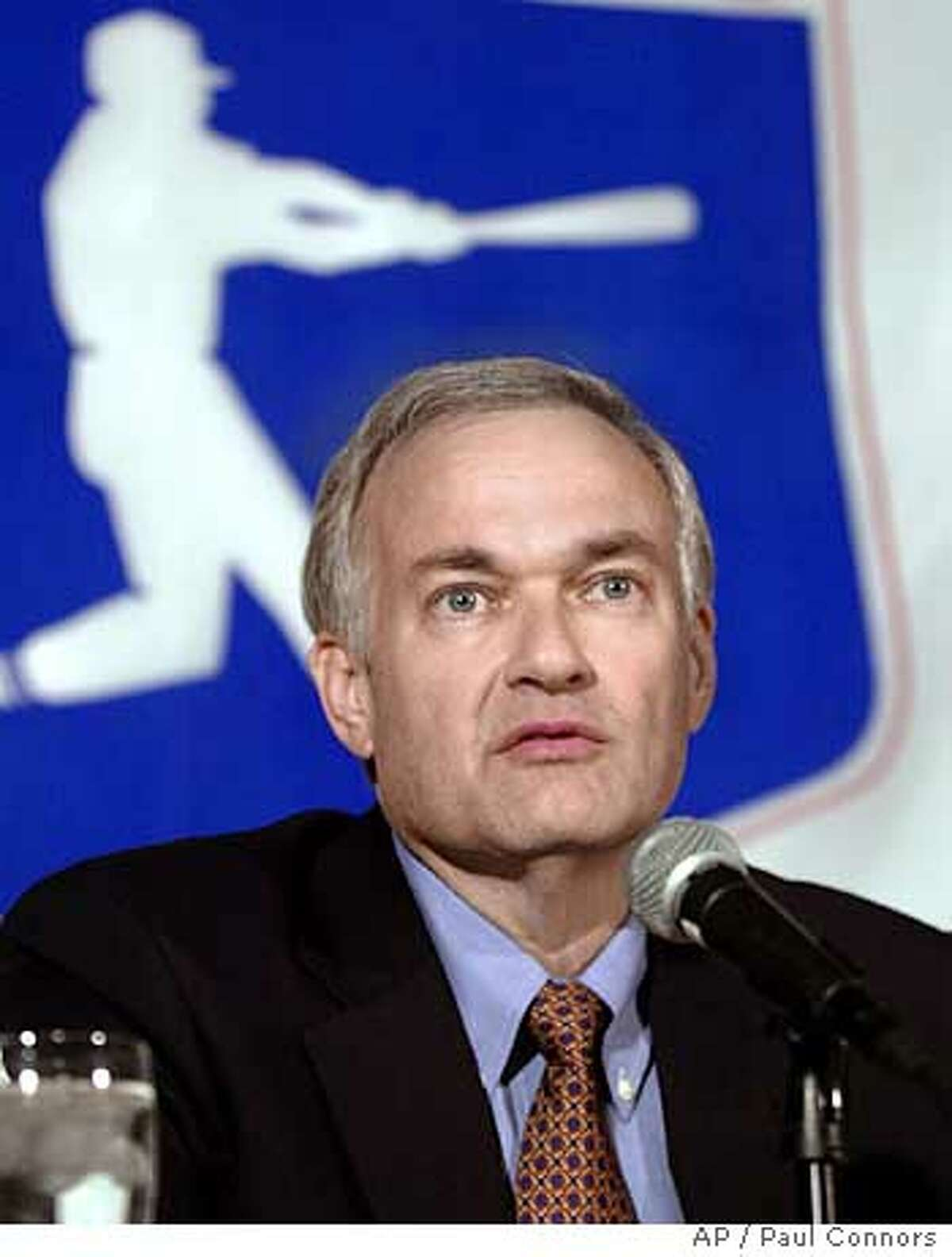 Major League Baseball Player's Association executive director Donald Fehr answers reporters' questions at a news conference during union meetings Tuesday, Dec. 7, 2004, at the Royal Palms Resort in Phoenix.(AP Photo/Paul Connors) Ran on: 12-08-2004 Players union chief Donald Fehr says he is willing to begin negotiations to toughen baseballs drug-testing policy. Ran on: 12-08-2004 Players union chief Donald Fehr says he is willing to begin negotiations to toughen baseballs drug-testing policy. Ran on: 01-14-2005 Ran on: 01-14-2005 Ran on: 01-14-2005 Ran on: 02-19-2005 In friendlier times, such as spring training 1997, Jose Canseco and Mark McGwire (left) did their talking in person. Ran on: 03-23-2005 Ran on: 03-23-2005 Ran on: 03-23-2005 Ran on: 05-03-2005 Bud Selig Ran on: 05-03-2005 Bud Selig Ran on: 05-03-2005 Bud Selig