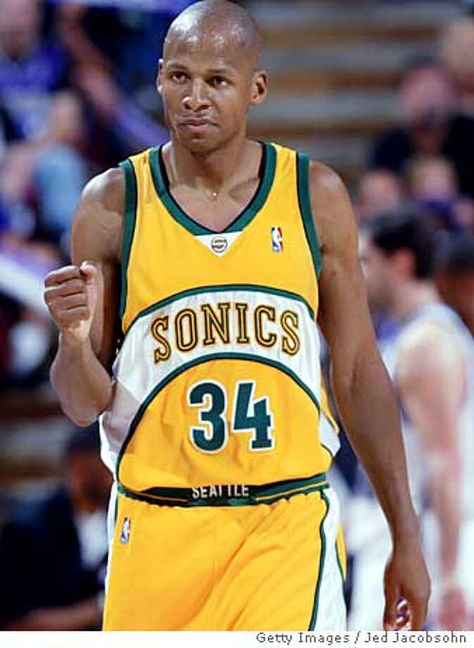 SACRAMENTO, CA - MAY 1: Ray Allen #34 of the Seattle SuperSonics celebrates after hitting a shot against the Sacramento Kings in Game four of the Western Conference First Round during the 2005 NBA Playoffs at Arco Arena on May 1, 2005 in Sacramento, California. NOTE TO USER: User expressly acknowledges and agrees that, by downloading and or using this photograph, User is consenting to the terms and conditions of the Getty Images License Agreement. (Photo by Jed Jacobsohn/Getty Images) *** Local Caption *** Ray Allen Ran on: 05-02-2005  Ray Allen had the biggest hand in the Sonics taking a 3-1 series lead, scoring a playoff-career-high 45 points Sunday. Photo: Jed Jacobsohn