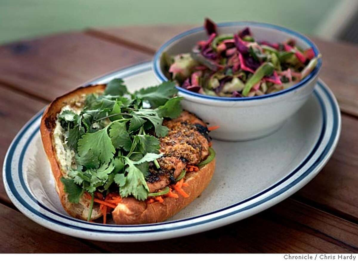 salmon04_ch_033.jpg Salmon dishes from Fish restaurant: Saigon salmon sandwich with chili-lime cole slaw in Sausalito 4/26/05 Chris Hardy / San Francisco Chronicle