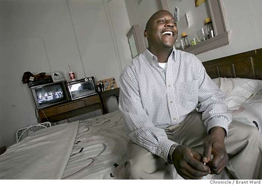 homeless814_ward.jpg  Brian Whipple sat on the bed of his hotel room at the Graystone Hotel on Geary Street. He was homless but has been inside for about a year since the Care Not Cash program started...he calls himself a success story.  On the one year anniversary of the first hotels being opened for San Francisco's Care Not Cash program, dozens attend a protest denouncing the homeless program.  Brant Ward 5/4/05 Photo: Brant Ward