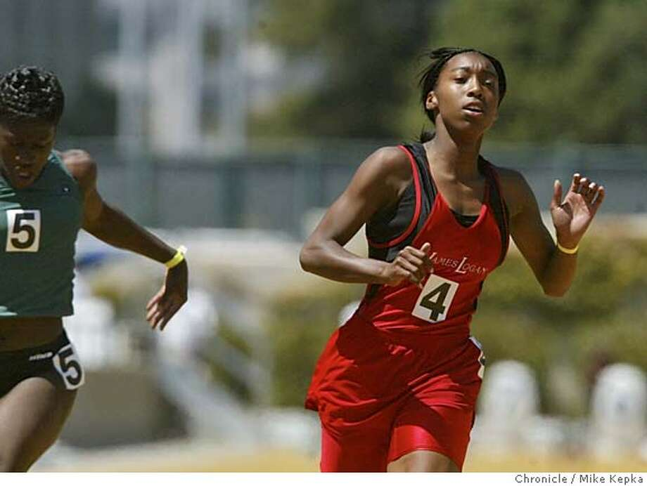 ncstrack0040_mk.jpg Kristina Davis of James Logan High School takes first in the girls 100 meter dash at the North Coast Section Championships held at Edwards Stadium at UC Berkeley. 5/31/03 in Berkeley. MIKE KEPKA / The San Francisco Chronicle CAT MANADATORY CREDIT FOR PHOTOG AND SF CHRONICLE/ -MAGS OUT Photo: MIKE KEPKA