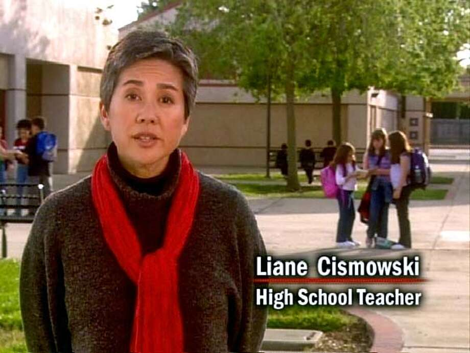 TV ad still of Concord High School teacher Liane Cismowski. Courtesy of California Teachers Association Photo: Courtesy Of California Teachers