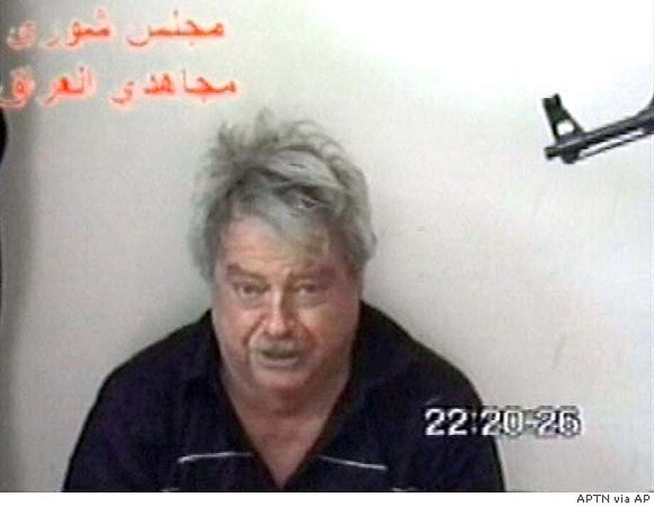 "A man who identified as Australian Douglas Wood is seen in this image taken from a video delivered by Iraqi militants to news agencies Sunday May 1, 2005. On the two-minute video, the blond-haired man identifies himself as Douglas Wood, a 63-year-old who lives in California and is married to an American. He appeals to U.S., Australian and British authorities to withdraw from the country. ""I don't want to die,"" he says on the tape. (AP Photo/Via APTN) ** TV OUT **"