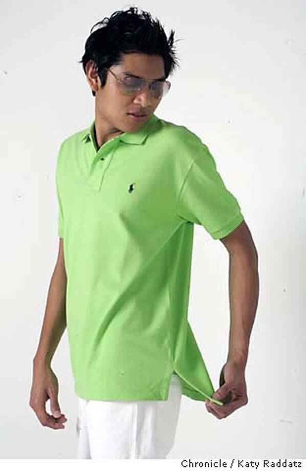 POLO01049_RAD.JPG Style cover story about polo shirts for guys--they come in all kinds of new color combinations, from cheap one at American Eagle to expensive ones at Prada. This is by Polo. Sunglasses by Ray-Ban. Our model is Pratch Siridhara. Photo taken on 4/21/05, in SAN FRANCISCO, CA.  By Katy Raddatz / The San Francisco Chronicle MANDATORY CREDIT FOR PHOTOG AND SF CHRONICLE/ -MAGS OUT Photo: Katy Raddatz