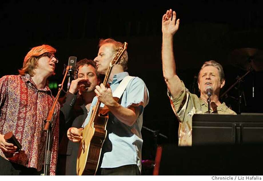 """WILSON06_075_LH.JPG Brian Wilson (right) of the Beach Boys presents his long-lost masterpiece, """"Smile,"""" in concert at Davies Symphony Hall. � Shot on 11/4/04 in San Francisco. LIZ HAFALIA/The Chronicle MANDATORY CREDIT FOR PHOTOG AND SF CHRONICLE/ -MAGS OUT Datebook#Datebook#Chronicle#11/06/2004#ALL#Advance#datebook_front#0422452252 Photo: Liz Hafalia"""
