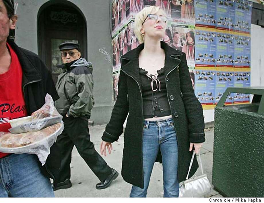 onlocationFill087b_mk.jpg  Melinda Hickey on her way home from Fillmore at 3:37 in the afternoon  on Location Fillmore between Pine and Bush 4/23/05 Mike Kepka / The Chronicle MANDATORY CREDIT FOR PHOTOG AND SF CHRONICLE/ -MAGS OUT Photo: Mike Kepka