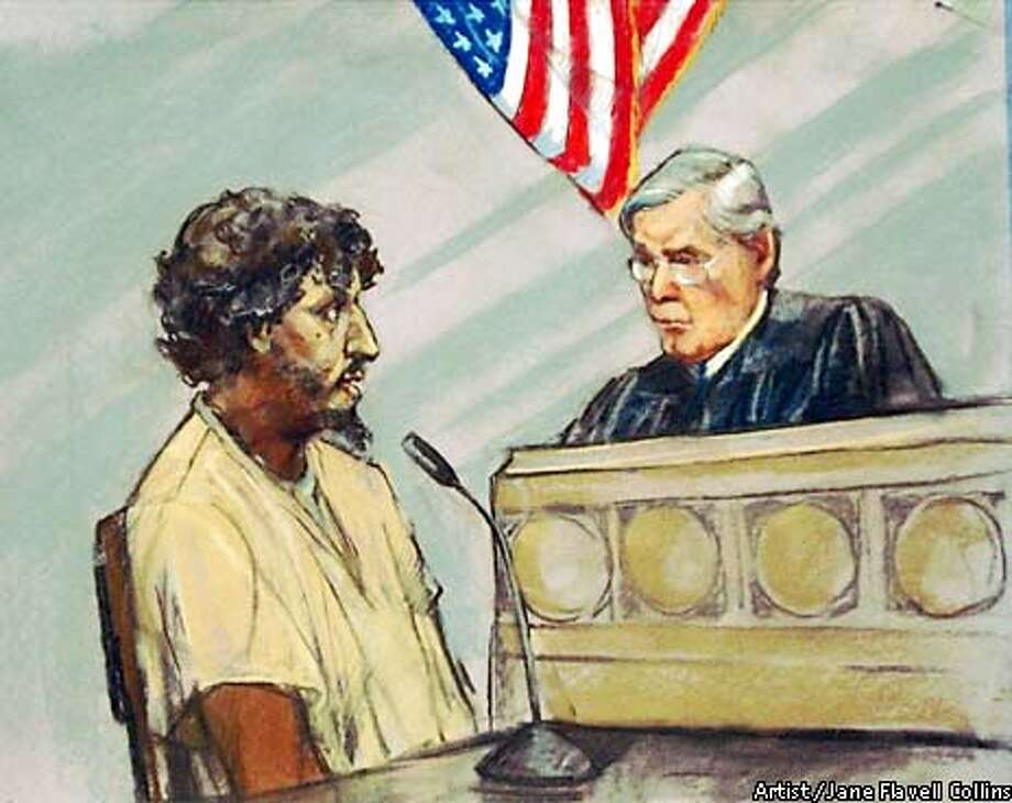 Richard C. Reid, the self-described member of al-Qaida, left, is seen in this court artist drawing Thursday, Jan. 30, 2003 in Boston, as he is sentenced to life in prsion by U.S. Federal Judge William Young. Reid had attempted to blow up a trans-Atlantic flight with plastic explosives hidden in his shoes. (AP Artist / Jane Flavell Collins, artist) Photo: JANE FLAVELL COLLINS