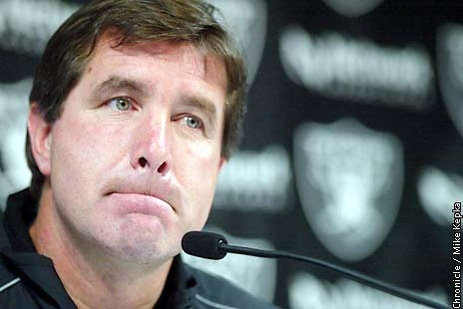 At the Raiders Facility in Alameda, Coach Bill Callahan gives his first press conference since the Raiders lost the Super Bowl. BY MIKE KEPKA/THE CHRONICLE Photo: MIKE KEPKA