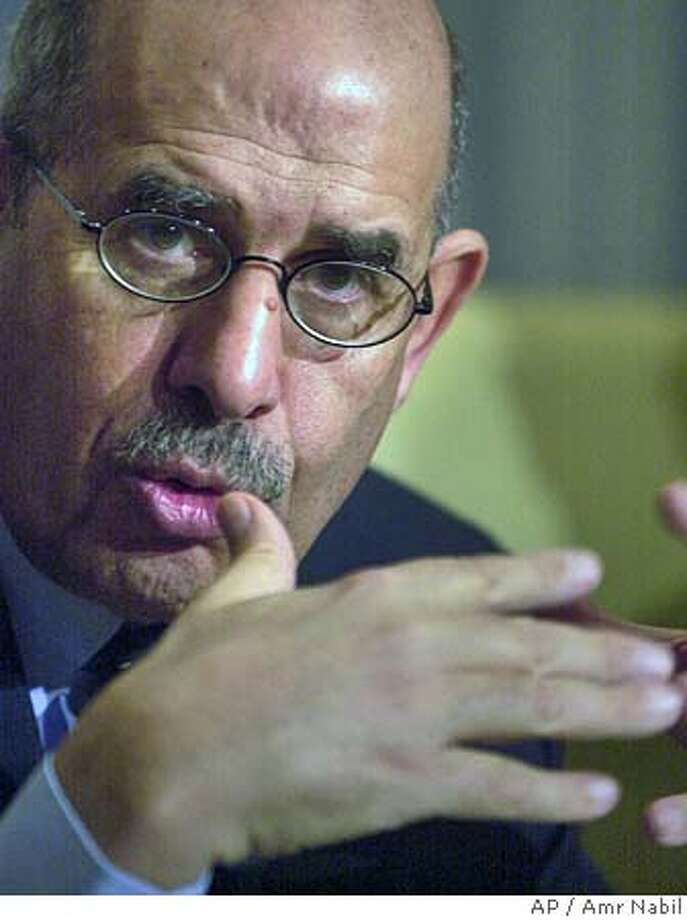 International Atomic Energy Agency (IAEA) Director General Mohamed gestures during a press conference before his departure from Tripoli Monday, Dec. 29, 2003. is visiting Libya with a team of experts to begin their assessment of the Libyan nuclear weapons program. (AP Photo/Amr Nabil) Mohammed speaks to reporters in Tripoli, Libya. Ran on: 11-05-2004  Mohamed is director general of the International Atomic Energy Agency. Photo: AMR NABIL