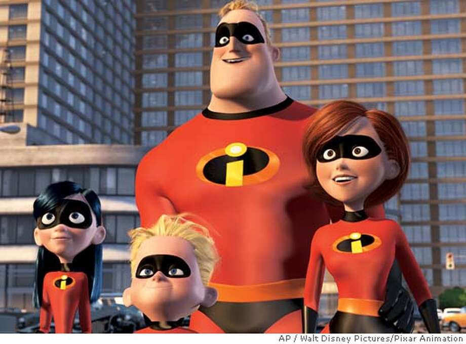 "(Left to right) Violet Parr, Dashiel ""Dash"" Parr, Mr Incredible, and Elasticgirl, in Walt Disney Pictures/Pixar Animation Studios' ""The Incredibles."" (AP Photo/Walt Disney Pictures/Pixar Animation)"