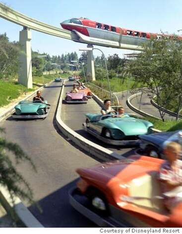 AUTOPIA (1959) -� This opening day attraction is enjoyed by drivers of all ages, but children are especially excited about driving their own car on a �real� freeway.