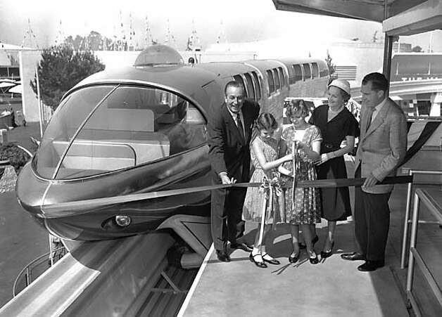 Walt Disney, Julie, Tricia, Pat and Richard Nixon at the opening of Disneyland's monorail in 1959  Photo courtesy Disneyland. Photo: HANDOUT