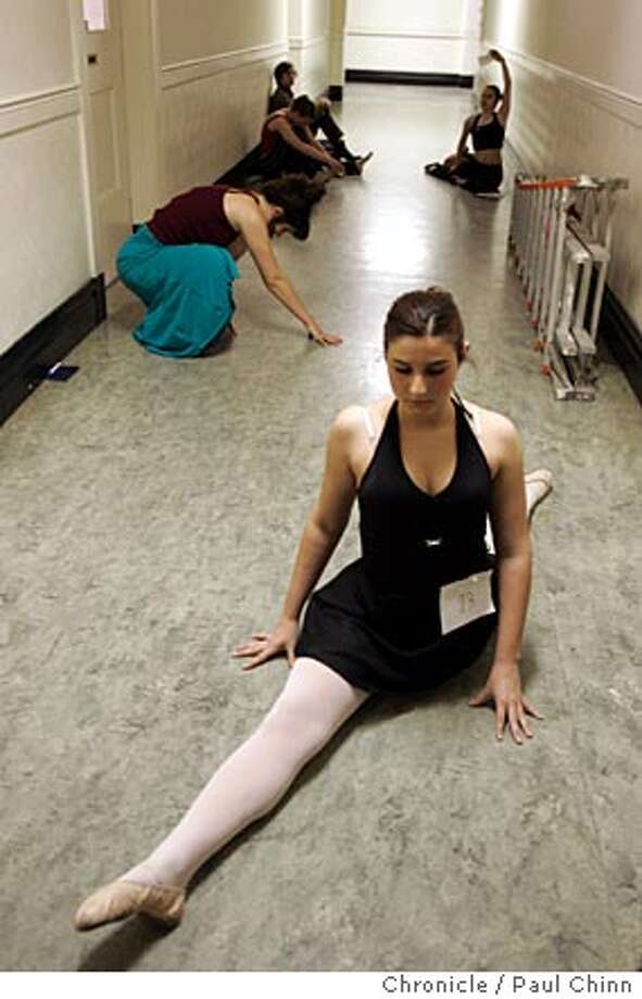 Elizabeth McCaman, of Santa Clara, warmed up in the hallway with other dancers before the audition. Auditions were held for dancers aged 13-21 for Alonzo King's Lines Ballet Summer Pre-Professional Program on 4/16/05 in San Francisco, CA.  PAUL CHINN/The Chronicle Photo: PAUL CHINN