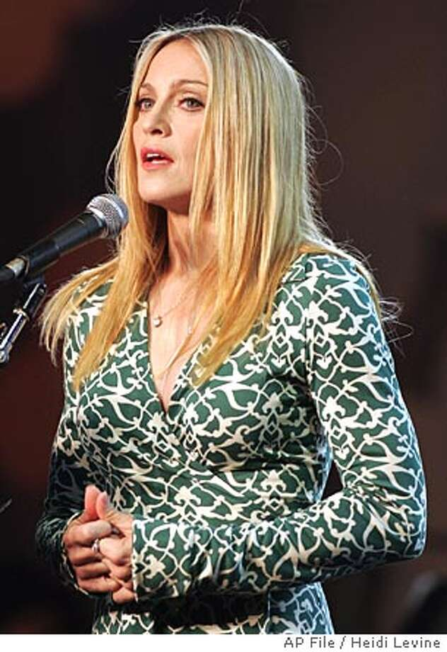 """**FILE** Pop star Madonna, wearing a Diane Von Furstenberg dress, speaks during a """"Spirituality for Kids"""" event, at the Kabbalah International Conference, held at the Intercontinental Hotel, in Tel Aviv, Israel in this Sunday, Sept 19, 2004 file photo. (AP Photo/Heidi Levine, FILE) Photo: HEIDI LEVINE"""