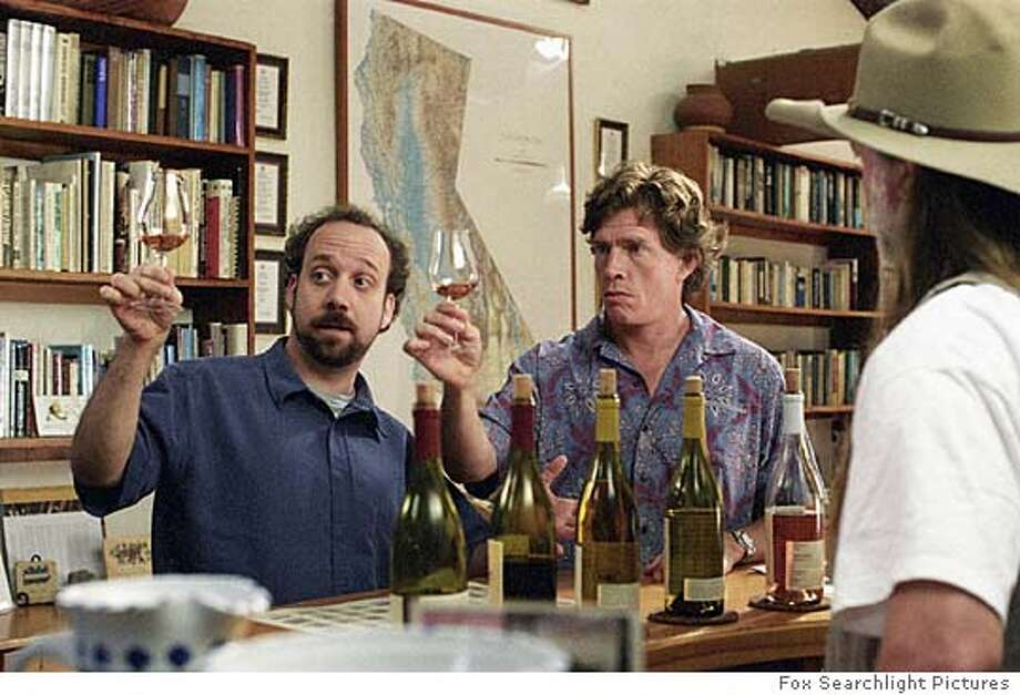 "Actors Paul Giamatti, left, and Thomas Haden Church, center, are shown in a scene from ""Sideways,"" in this undated promotional photo. The film was one of 253 feature films that played during the 29th edition of the Toronto International Film Festival, which concludes its 10-day run Saturday, Sept. 18. (AP Photo/Fox Searchlight Pictures, Merie W. Wallace) Ran on: 09-26-2004  Knut Berger and Lior Ashkenazi near the Red Sea in Eytan Fox's &quo;Walk on Water.&quo; Ran on: 10-24-2004  &quo;Sideways&quo; director Alexander Payne: He knows enough about wine &quo;to know how little I know.&quo; Ran on: 11-04-2004  Paul Giamatti plays the part of Miles, a schlubby school teacher and wine connoisseur in &quo;Sideways.&quo; Ran on: 11-04-2004 Photo: MERIE W. WALLACE"