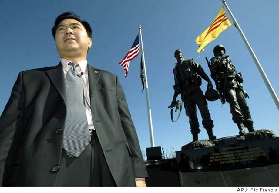 Van Tran visits the Vietnam war memorial Wednesday, Nov. 3, 2004, in Westminster, Calif., following success on election night. Tran is the first Vietnamese-American elected to state legislature in America. (AP Photo/Ric Francis) Photo: RIC FRANCIS