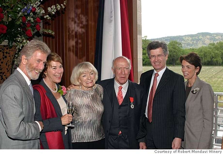 L-R: Tim Mondavi, Marcia Mondavi Borger, Margrit Biever Mondavi, Robert G. Mondavi, His Excellency Jean-David Levitte (French ambassador to the United States) and Levitte's wife, Marie-Cecile Levitte, pose after the ambassador gave Robert Mondavi the French Legion of Honor medal at Opus One in Oakville on April 24. Photo by John McJunkin/Courtesy of Robert Mondavi Winery Photo: John McJunkin/Courtesy Of Robert