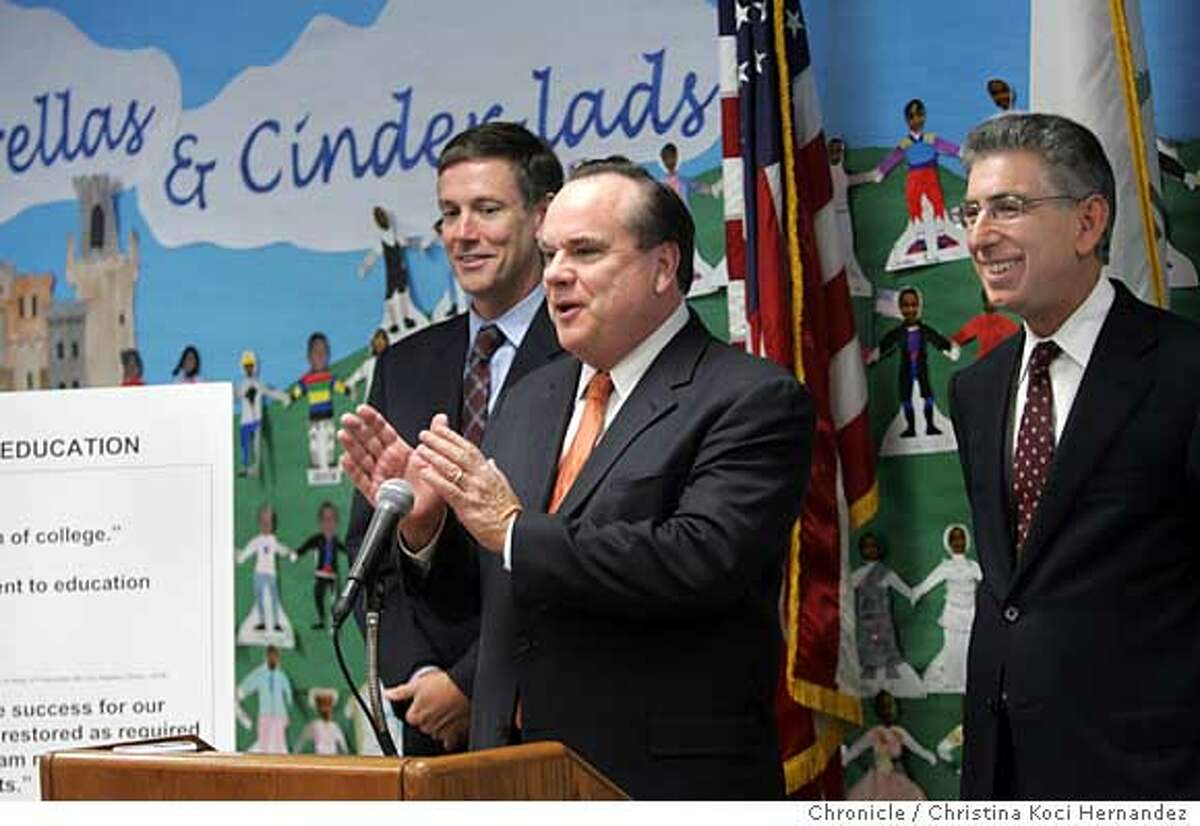 At Nimitz Elementary School, in Sunnyvale, State (far right)Treasurer Phil Angelides,(at podium) Attorney General Bill Lockyer and state Superintendent of Public Instruction(far left) Jack O'Connell join parents, teachers and students to blast the governor's budget plan. Story will either combine or run in tandem with Schwarzenegger's visit to the Chron ed board to push his plan. .CHRISTINA KOCI HERNANDEZ/CHRONICLE