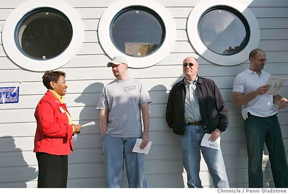 RICHMONDELEX_039_pg.jpg City council candidate Mendell Lewis Penn waits to cast her ballot. at the Marina Bay Yacht Harbor. she stands with others in line, left to rt. Michael Lauersdorf, Nicholas Hughes, and Tony Vrame.  RICHMOND on 11/3/04 by Penni Gladstone  San Francisco Chronicle Photo: Penni Gladstone