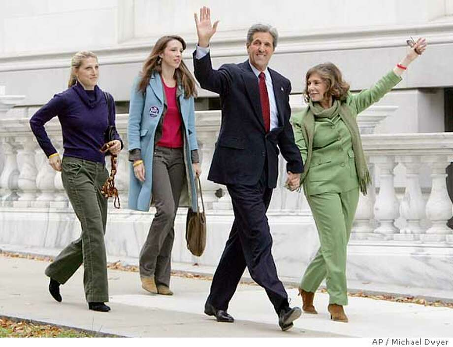 Democratic presidential candidate Sen. John Kerry, his wife Teresa Heinz Kerry and their daughters Vanessa, left, and Alexandra arrive at the Statehouse in Boston where Sen. Kerry cast his vote, Tuesday, Nov. 2, 2004. (AP Photo/Michael Dwyer) Photo: MICHAEL DWYER