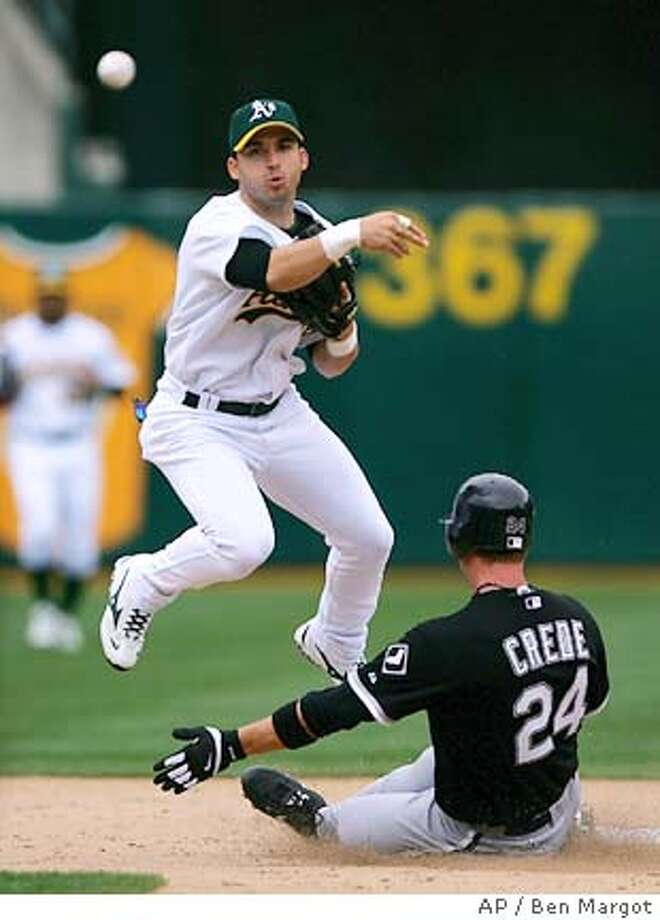 Oakland Athletics' shortstop Marco Scutaro throws over Chicago White Sox's Joe Crede (24) to complete a double play in the third inning Wednesday, April 27, 2005, in Oakland, Calif. Chicago's Scott Podsednik was out at first base. (AP Photo/Ben Margot) Photo: BEN MARGOT