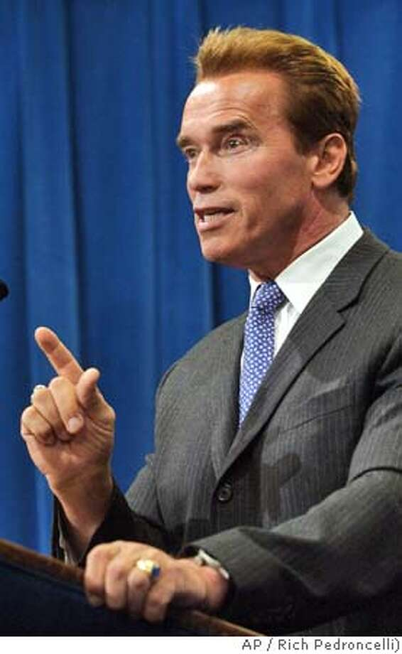 California Gov. Arnold Schwarzenegger answers questions concerning the outcome of Tuesday's elections during a Capitol news conference in Sacramento, Calif., Wednesday, Nov. 3, 2004. (AP Photo/Rich Pedroncelli) Metro#Metro#Chronicle#11/4/2004##5star##0422450031 Photo: RICH PEDRONCELLI