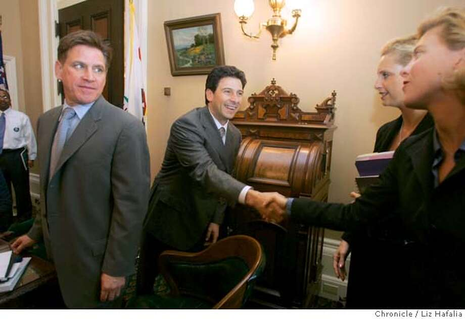 "SILICONLOBBY_060_LH.JPG House speaker Nunez (middle) meeting with Silicon Valley leaders in Sacramento looking for a big sales tax break and other bills to make their local operations ""more competitive."" At left is Gary Fazzino, vice president of government and public affairs of Hewlett-Packard and former Palo Alto mayor. On right are people from City of San Jose/mayor's office. Shot in Sacramento on 4/27/05. Creditted to San Francisco Chronicle/Liz Hafalia Photo: Liz Hafalia"