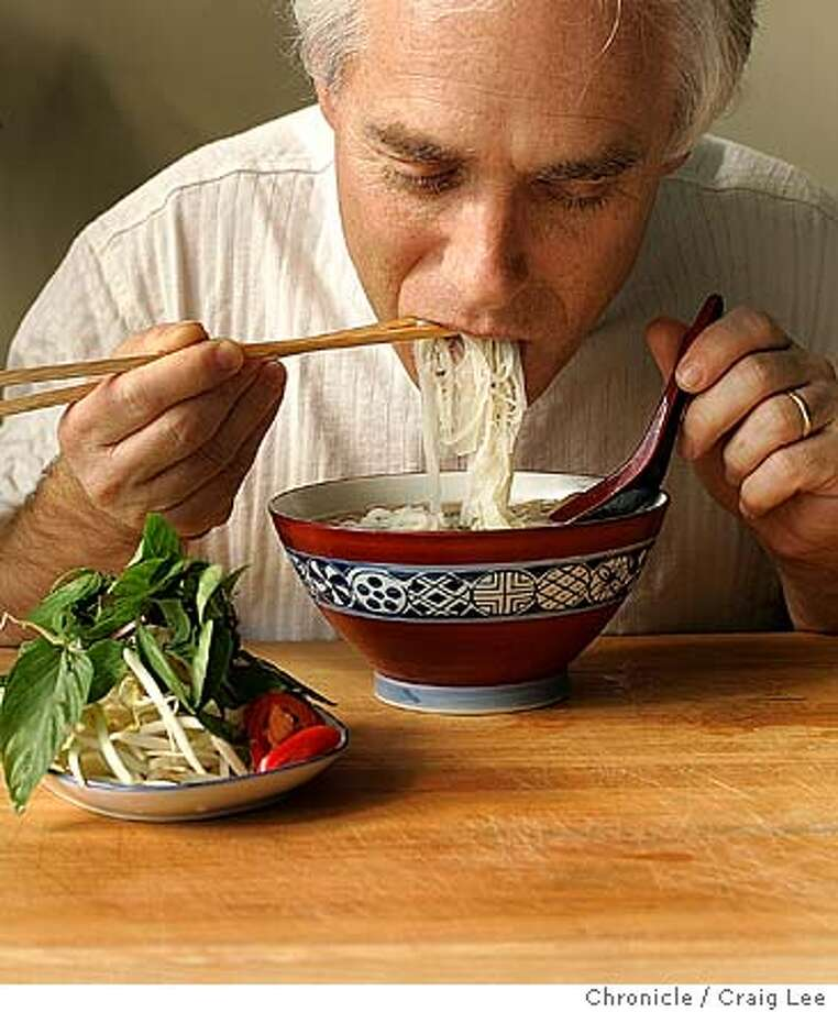 Bowl of pho with model David Rubien of the Chronicle staff.  Event on 10/30/04 in San Francisco. Craig Lee / The Chronicle Photo: Craig Lee