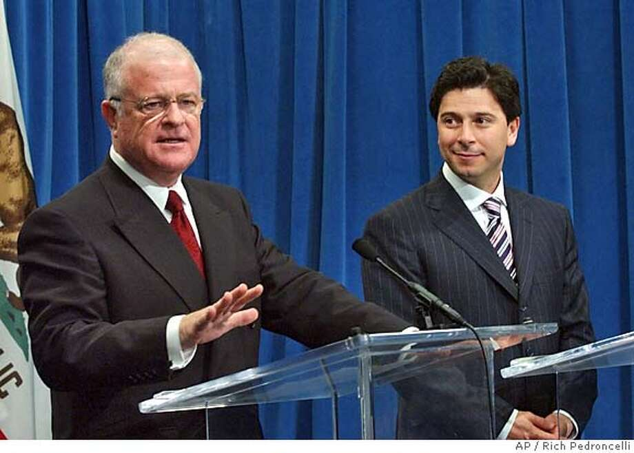 State Sen. President Pro Tem Don Perata, D-Oakland, left, answers a question during a news conference held with Assembly Speaker Fabian Nunez, D-Los Angeles, right, at the Capitol in Sacramento, Calif., Monday, Dec. 6, 2004. The two legislative leaders discussed their plans for the upcoming session in which they will deal with issues ranging from the budget deficit to homeowners insurance.(AP Photo/Rich Pedroncelli) Ran on: 12-16-2004  Federal agents remove desktop computers and unmarked bags of evidence from Nick Perata's home (left) in Oakland. Ran on: 12-16-2004  Federal agents remove evidence from Nick Perata's home (left) in Oakland. All told, during their five-hour search investigators seized two computers, five brown grocery bags filled with evidence and a cardboard box filled with papers. Ran on: 01-09-2005  Assembly Speaker Fabian Nu�ez also forgot a few high-profile introductions. Ran on: 01-09-2005  Assembly Speaker Fabian Nu�ez also forgot a few high-profile introductions. Ran on: 04-14-2005  Don Perata supported Bay Area card clubs' efforts to stop an Indian casino in San Pablo. Ran on: 04-14-2005  Don Perata supported Bay Area card clubs' efforts to stop an Indian casino in San Pablo. Ran on: 04-14-2005 Metro#Metro#Chronicle#1/9/2005#ALL#5star##0422503360 Photo: RICH PEDRONCELLI
