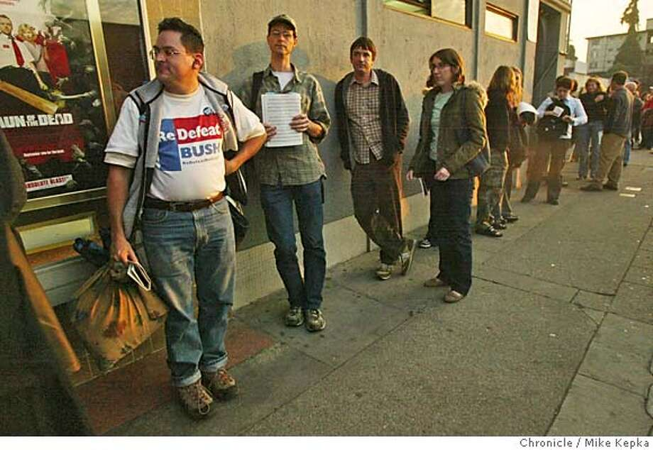 contrast03_dem0007_mk.jpg After showing up around 3 p.m., Dan Franco stands near the front of a long line of Kerry supporters waiting to get into the Parkway Theater in Oakland where they showed the election results Tuesday night.  Bay Area democrats watch the election results unfold at the Parkway Theater in Oakland,CA Tuesday night. 11/2/04  MIKE KEPKA/The Chronicle MANADATORY CREDIT FOR PHOTOG AND SF CHRONICLE/ -MAGS OUT Politics#Metro#Chronicle#11/3/2004#ALL#5star#a16#0422447732 Photo: MIKE KEPKA