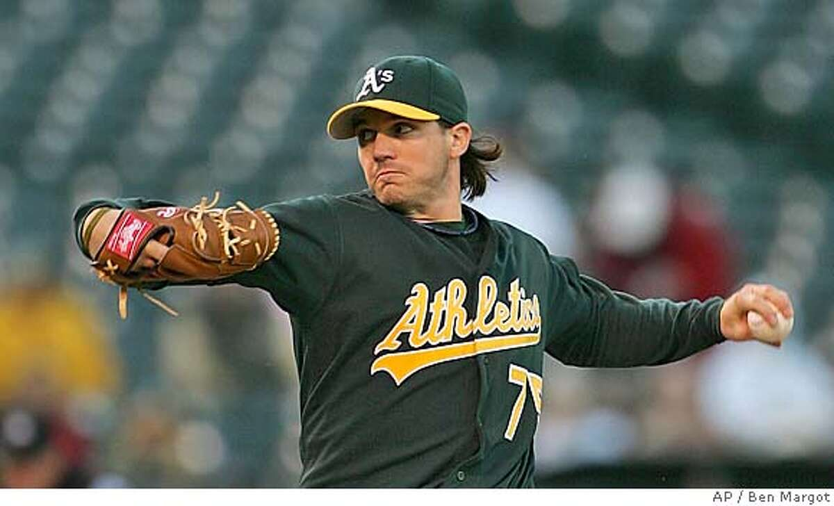 Oakland Athletics' Barry Zito works against the Chicago White Sox Monday, April 25, 2005, in Oakland, Calif. (AP Photo/Ben Margot)