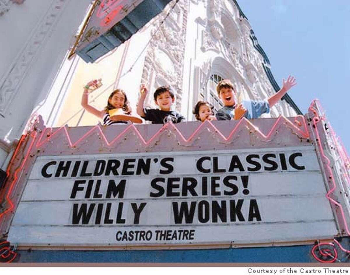 The Children's classic film series at the Castro Theatre. Kids (from left) Nicole Nasser, Max Hirschfeld, Grace Hirschfeld and Theo Nasser celebrate the Castro Theatre's first Children's Classic Film Series.