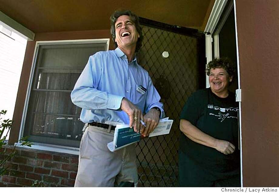 Bobby Shriver, who is running for Santa Monica City Council, shares a laugh with Deborah Sharp, as he walks her neighborhood looking for votes, Saturday, Oct.30, 2004, in Santa Monica.-------  All eyes are on Arnold Schwarzenegger to see if his coattails will carry Republicans into the Legislature on Tuesday. But his family is factoring in another, less-watched race: Bobby Shriver, the governor's brother-in-law, is running for the Santa Monica City Council. Oct. 30,,2004. LACY ATKINS/SAN FRANCISCO CHRONICLE Metro#Metro#Chronicle#11/2/2004#ALL#5star##0422442650 Photo: LACY ATKINS