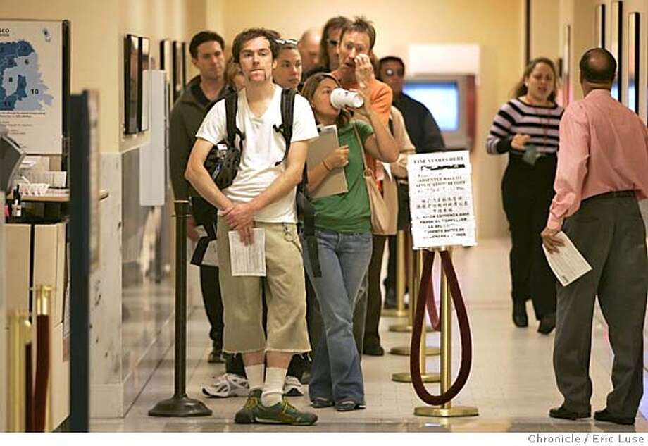 localelex_007_el.jpg  Bret Winters, leaving the country tonight is voting absentee today at City Hall. He is next up to fill in his ballot. San Francisco voters turn out to cast their absentee ballots at City Hall.  Event on 11/2/04 in San Francisco. Eric Luse / The Chronicle MANDATORY CREDIT FOR PHOTOG AND SF CHRONICLE/ -MAGS OUT Nation#MainNews#Chronicle#11/2/2004#ALL#5star##0422444477 Photo: Eric Luse