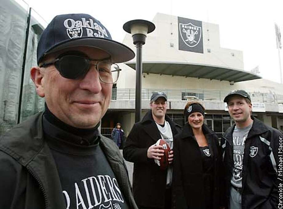 The Piper family, l to r- Loren(dad) Kurt, leslie and John. Loren has not missed a home game in Oakland since 1963, other than the time the time the Raiders moved to LA. He wears an eypatch not for show but because he has a detached retna. The Piper family on the concourse level at the Oakland Coliseum. People desperate to find tickets to the superbowl this Sunday. by Michael Macor/The Chronicle Photo: MICHAEL MACOR