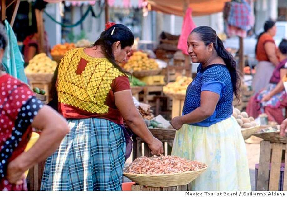 Oaxacan women at the marketplace in Oaxaca City Oaxaca City on 4/20/05.  Guillermo Aldana / Mexico Tourist Board Photo: Guillermo Aldana